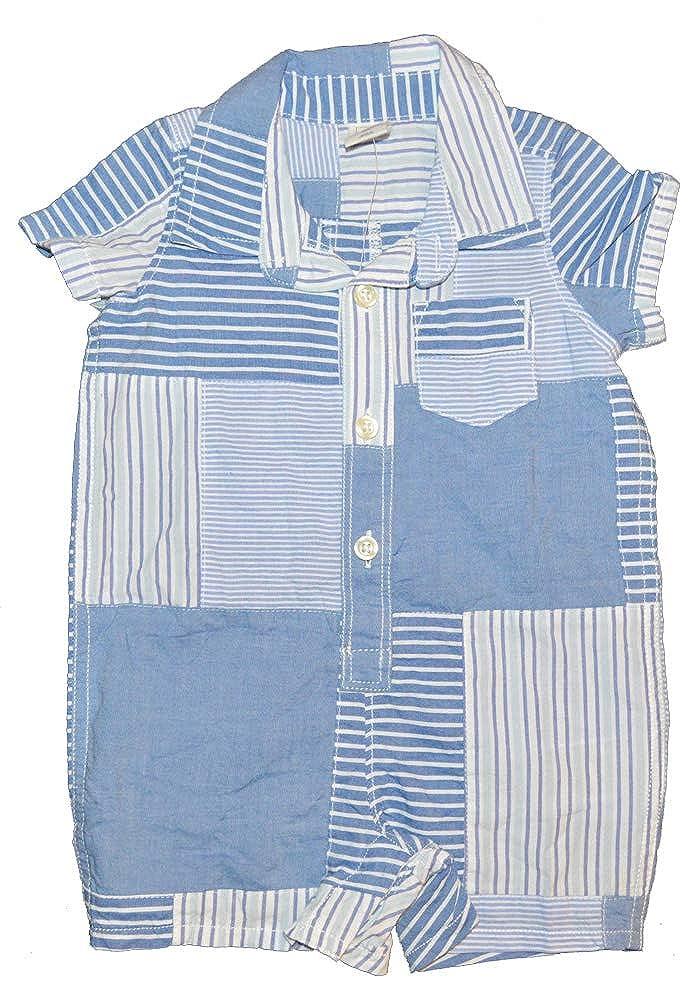 BabyGap Boys Blue Patchwork Shirt Shorts One-Piece Romper 3-6 Months