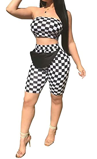 d412f2bd0b785 Amazon.com: Fubotevic Women 2 Piece Outfits Plaid Strapless Crop Top &  Bodycon Pencil Biker Shorts Sets: Clothing