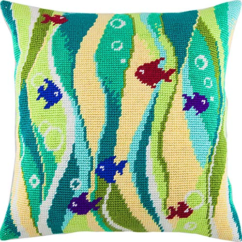 (Fish in Seaweed. Cross Stitch kit, Throw Pillow case 16×16 inches. Home Decor, DIY Embroidery Needlepoint Front Cushion Cover, Printed Tapestry Canvas, European Quality. Fish,)