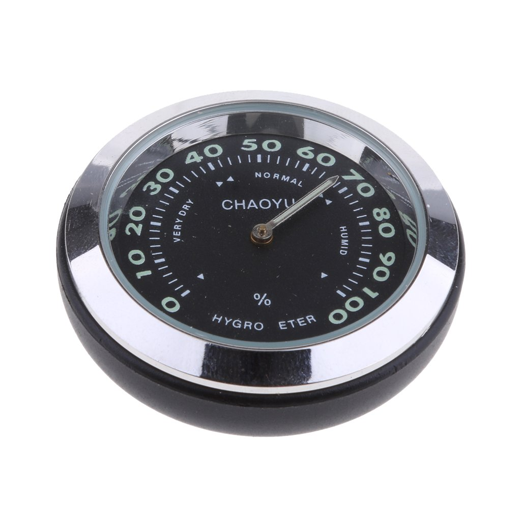 Baoblaze Car Dashboard Small Round Quartz Hygrometer Thermometer Humidity Meter (Thermometer) Black