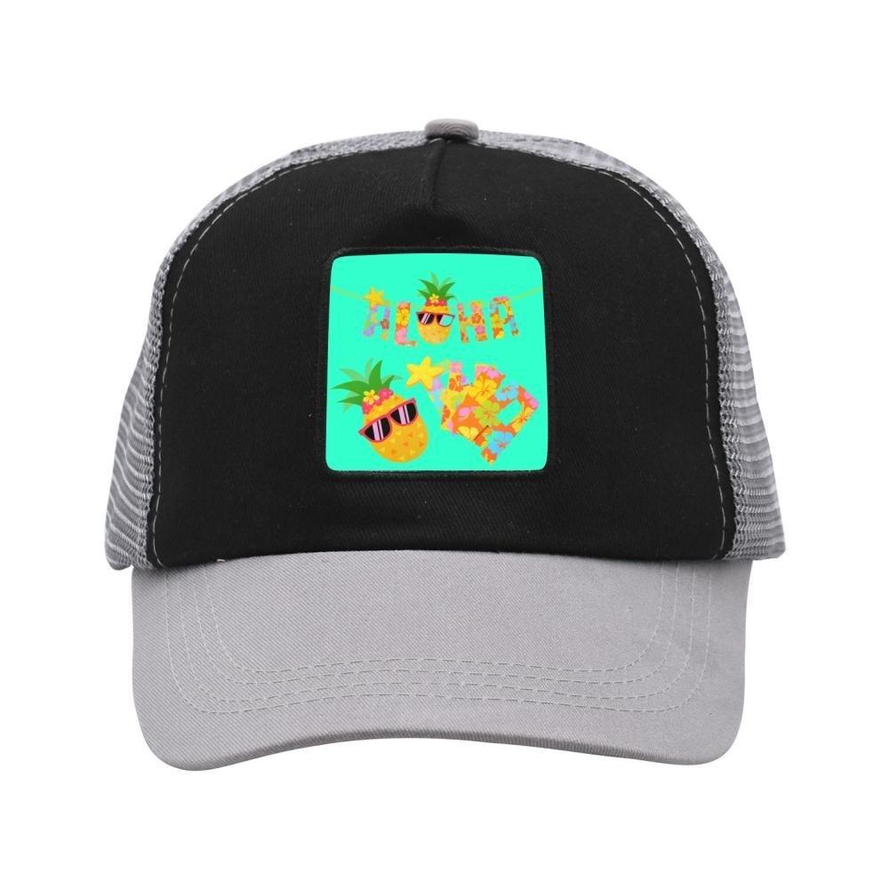 Pineapple With Glasses Mesh Baseball Cap for Toddler Trucker Hats Travel Cotton Hat Gray