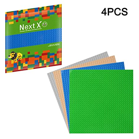 NextX 4 Stück Bauplatte für Classic Bausteine Plastik Grundplatte 25 x 25 cm - Grün+Blau+Grau+Sand Weihnachtsgeschenk