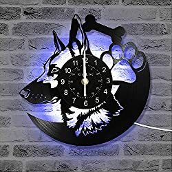 Record Wall Clock Retro 12' Wall Art Dog Lover Gift German Shepherd Design LP Animals Wall Mounted Timepiece with 7 Colors