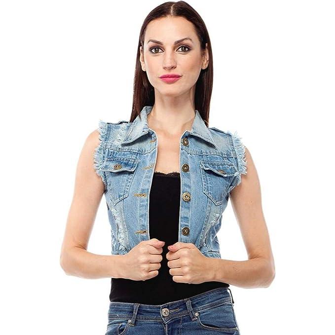 f6efc6bdc7a34 001 Girls Shopping Sleeveless Light Blue Denim Jacket for Women (Size-  Small)