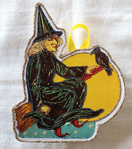 Vintage Halloween Card Image ~ Witch With Raven