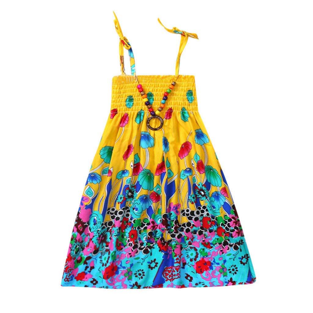 Vestidos Ni/ñas Fiesta Casual Ropa Bebe Ni/ña Verano para Beb/és Ni/ños Vestidos con Estampado Floral Playa Bohemia Vestido de Correas 3 a/ños a 10 a/ños