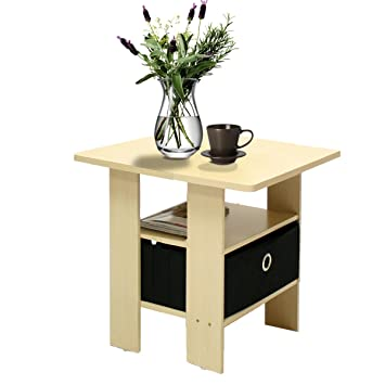 Amazon.com: Furinno 11157SBE/BK End Table Bedroom Night Stand w ...