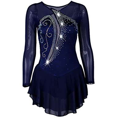 690125ca22 NAKOKOU Girls Shinny Rhinestone Roller Blue Ice Skating Dress(Navy ...