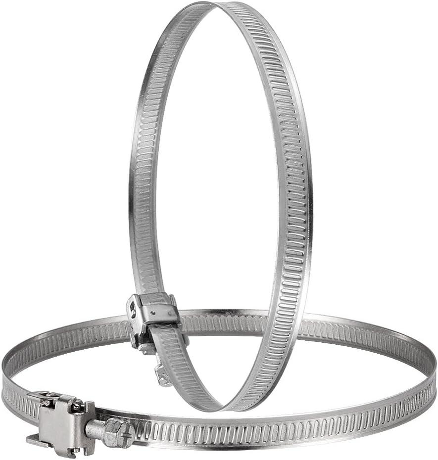 Hon&Guan Abrazadera Manguera Ajustable de Acero Inoxidable para Tubo, Ventilador Extractor de Aire - 2 piezas (150mm)