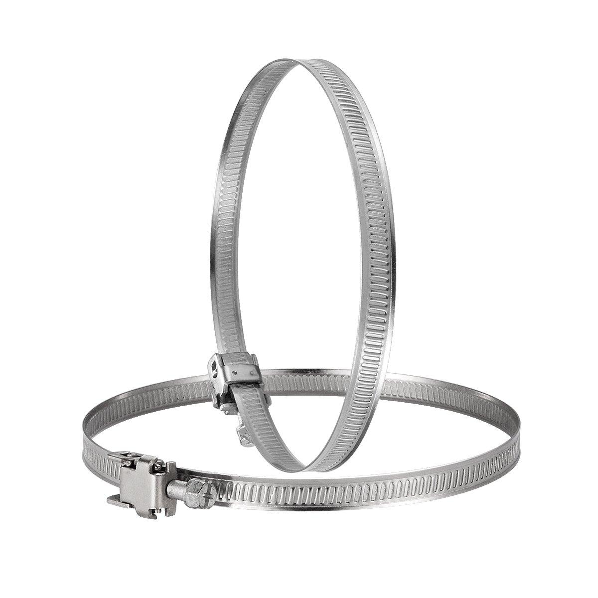 Hon&Guan Colliers de Serrage Réglable en Acier Inoxydable Clip à Tuyau pour System de Ventilation - 2pcs (200mm)