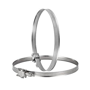 Hon&Guan Abrazadera Manguera Ajustable de Acero Inoxidable para Tubo , Ventilador Extractor de Aire - 2 piezas (200mm)