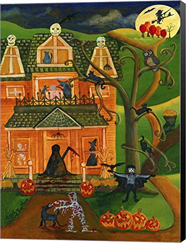 Halloween Skull House by Cheryl Bartley Canvas Art Wall Picture, Museum Wrapped with Black