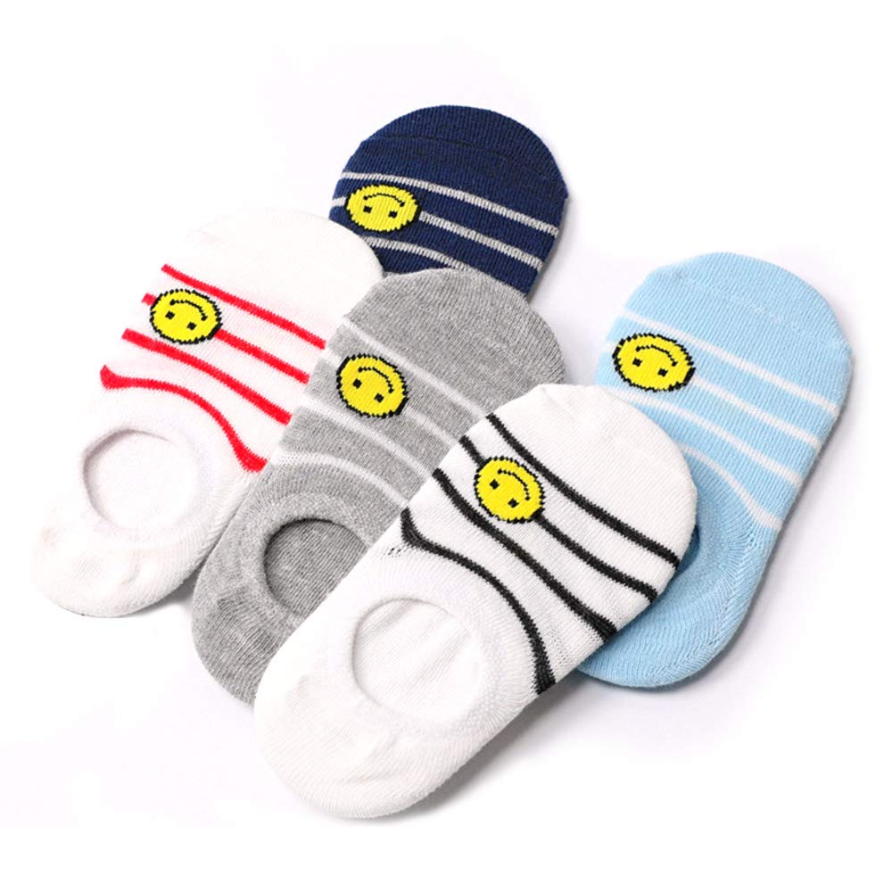 Honey.B Kid's No Show Socks Series - 5 Pairs of COTTON Casual Fashion Cute Fun Multi Unique Design and Color Comfortable Noshow Socks for Little Girl, Boy - 01-MEDIUM