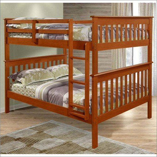 Full Over Full Mission Bunk Bed in Light Espresso