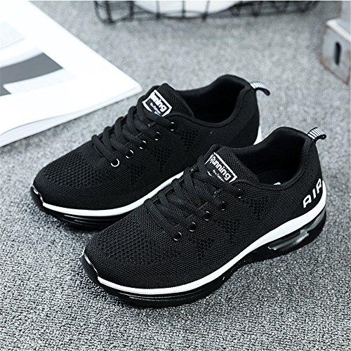 absorben Running Athletic Blanco Zapatillas Fitness deporte Zapatillas Negro Womens Gimnasio Jogging los que Zapatos golpes deporte para Damas de Monrinda de deportivos Transpirable Air caminar ligeras 4nxfPWnRE