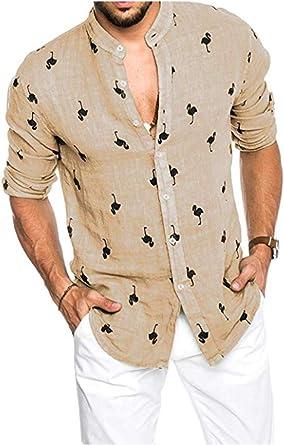 Hertsen - Camisas hawaianas para hombre, estampado de flamenco, lino y algodón, con botones Beige beige XL: Amazon.es: Ropa y accesorios