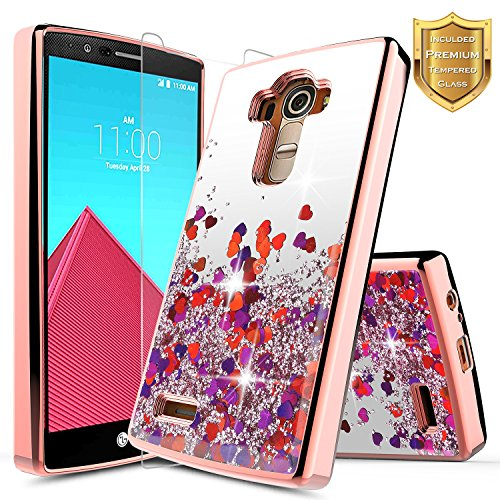LG G4 Case with [Tempered Glass Screen Protector], NageBee Quicksand Waterfall Liquid Floating Glitter Flowing Sparkle Bling Luxury Clear Soft TPU Case for LG G4 (Rose Gold)
