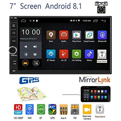 OiLiehu Android 8.1 Car Stereo Radio Receiver, Double Din 7'' HD Touch Screen Head Unit, Support Bluetooth Dual System Mirror Link Built-in GPS WIFI+8 LED Lights Backup Camera: GPS & Navigation