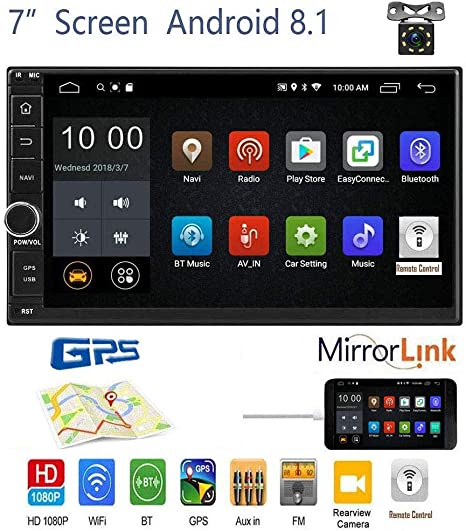 Backup Camera Liehuzhekeji Double Din Car Stereo Radio 7 Inch Touch Screen Car Audio Bluetooth FM AM Radio Receiver with USB AUX-in SD Card Port Support Android Phone Mirror Link