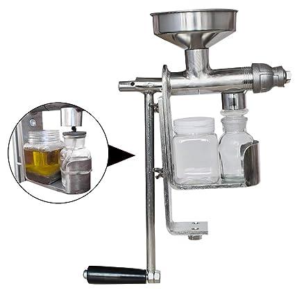 Denshine Extractor de Aceite Manual Acero Inoxidable Máquina de Prensado de Aceite para Uso Doméstico Máquina