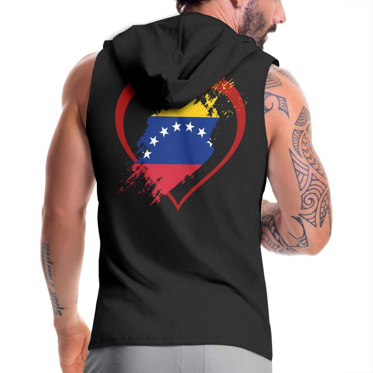 BMWEITIHBQ Mens Sleeveless Hoodie Venezuela Flag Heart Shape Zip Up Vest