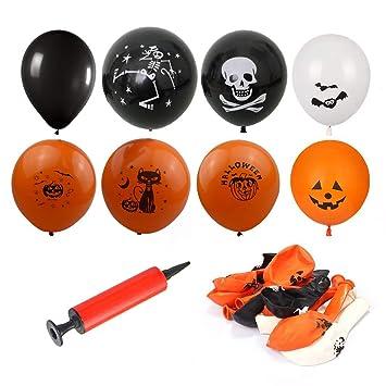 100 Pièces Halloween Ballons En Latex De Partie Fête Décorations 12 Fantôme Chauve Souris Crânes Ballon Avec Pompe Orange Noir Blanc