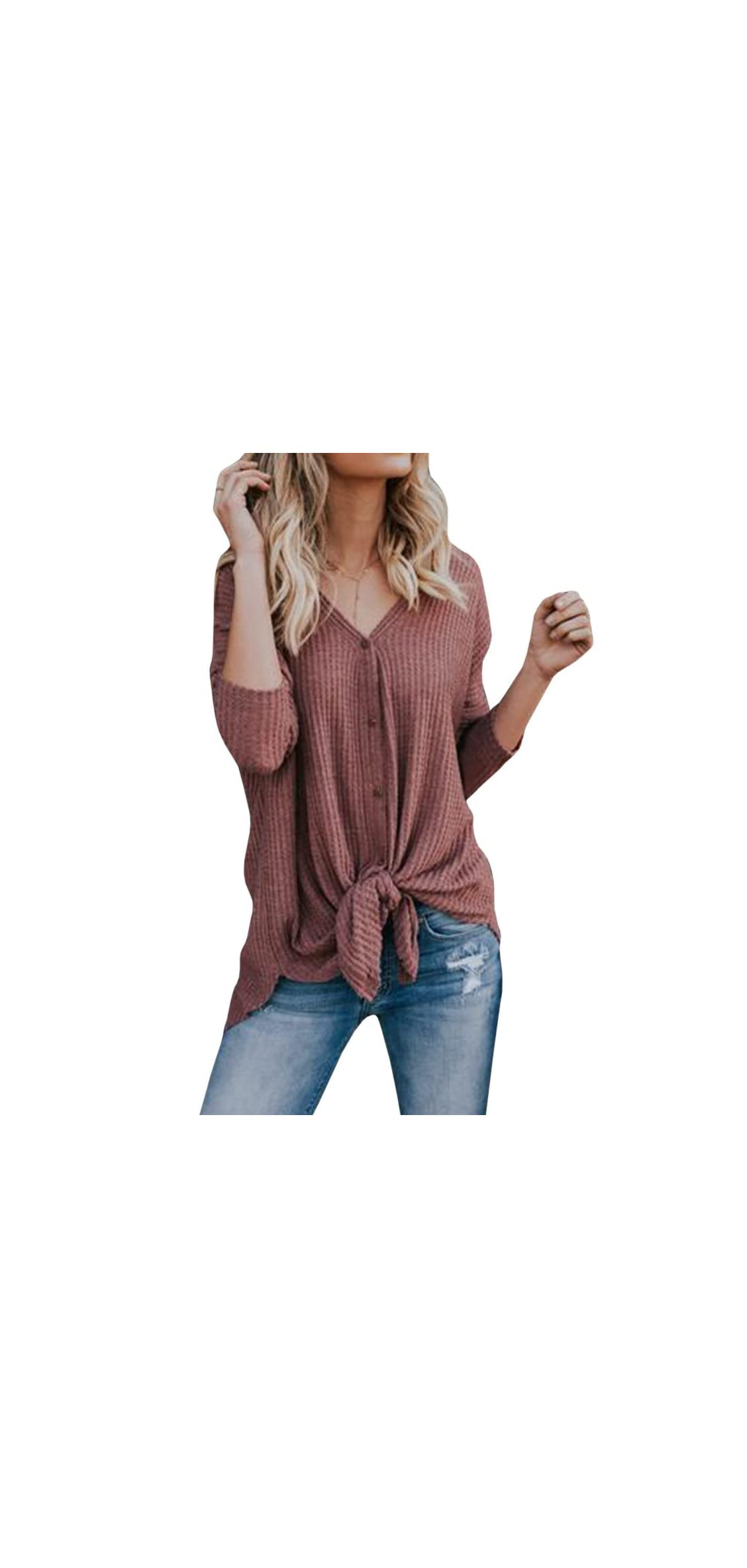 Womens Waffle Knit Blouse Tie Knot Front Henley Shirts Bat