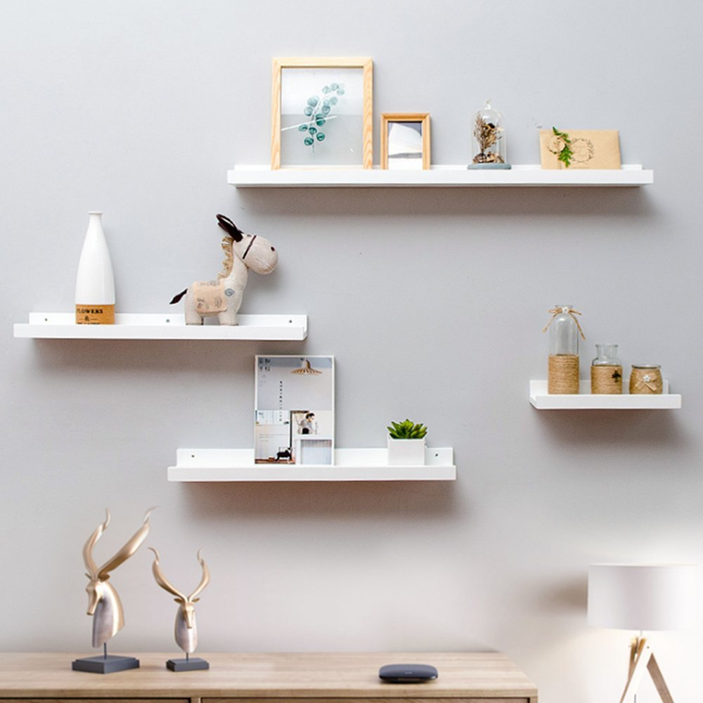Haoren Wood Wall Mounted Floating Ledge Shelf Shelves for Picture Books Decorations New (White, Middle) by Haoren (Image #2)