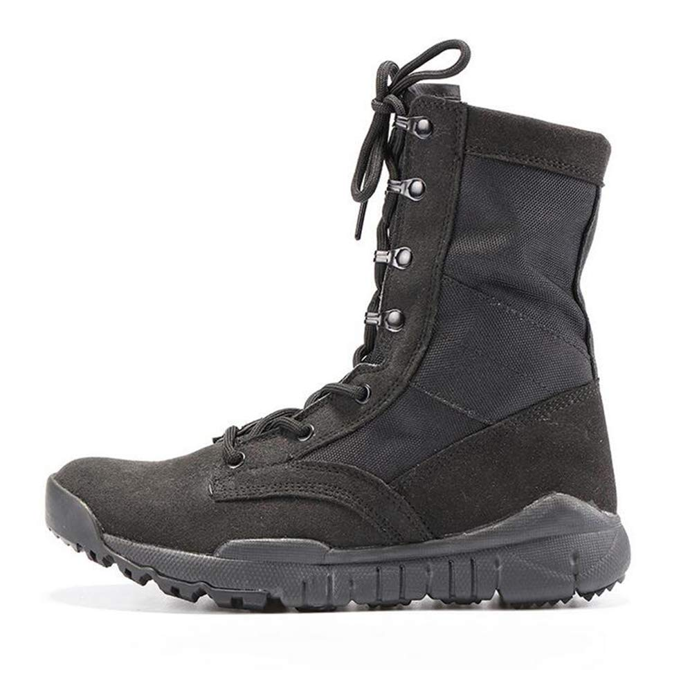 Hy Mens Tooling Boots, Suede Fall/Winter Thick Bottom Climbing Sneakers,Canvas Shoes,High-top Combat Boots,Tooling Boots, Military Boots (Color : Black, ...