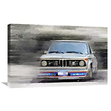 Naxart Studio 1974 BMW 2002 Turbo Watercolor Stretched Canvas Wall Art 12 inches x