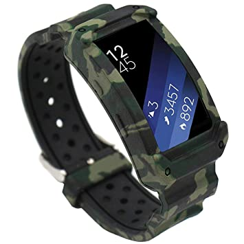 EL-move para Samsung Gear fit 2 correa de reloj pulsera correa de reemplazo banda para Samsung Gear Fit 2 Smartwatch (Camo)