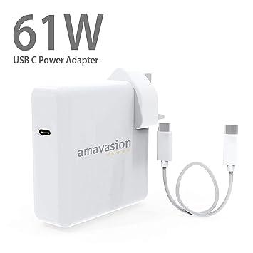 Adaptador de corriente USB C de 61 W, cargador para MacBook Pro, adaptador de cargador USB C para MacBook/MacBook Pro de 13 pulgadas/12 pulgadas, ...