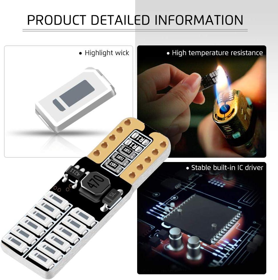 yifengshun 4x T10 W5W LED Ampoules 168 194 5W Canbus Wedge Super Bright Blanc pour lint/érieur de Voiture /Éclairage Ext/érieur Plaque dimmatriculation D/ôme Side Light Bulb