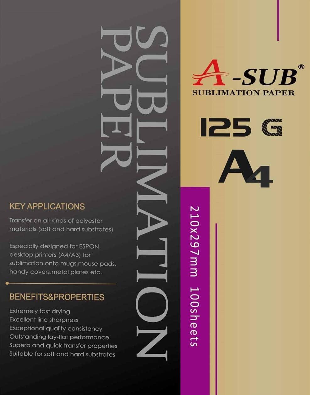A-SUB papel de sublimación A4 para impresoras EPSON ME Series, RICOH GX Series y SAWGRASS, 100 hojas