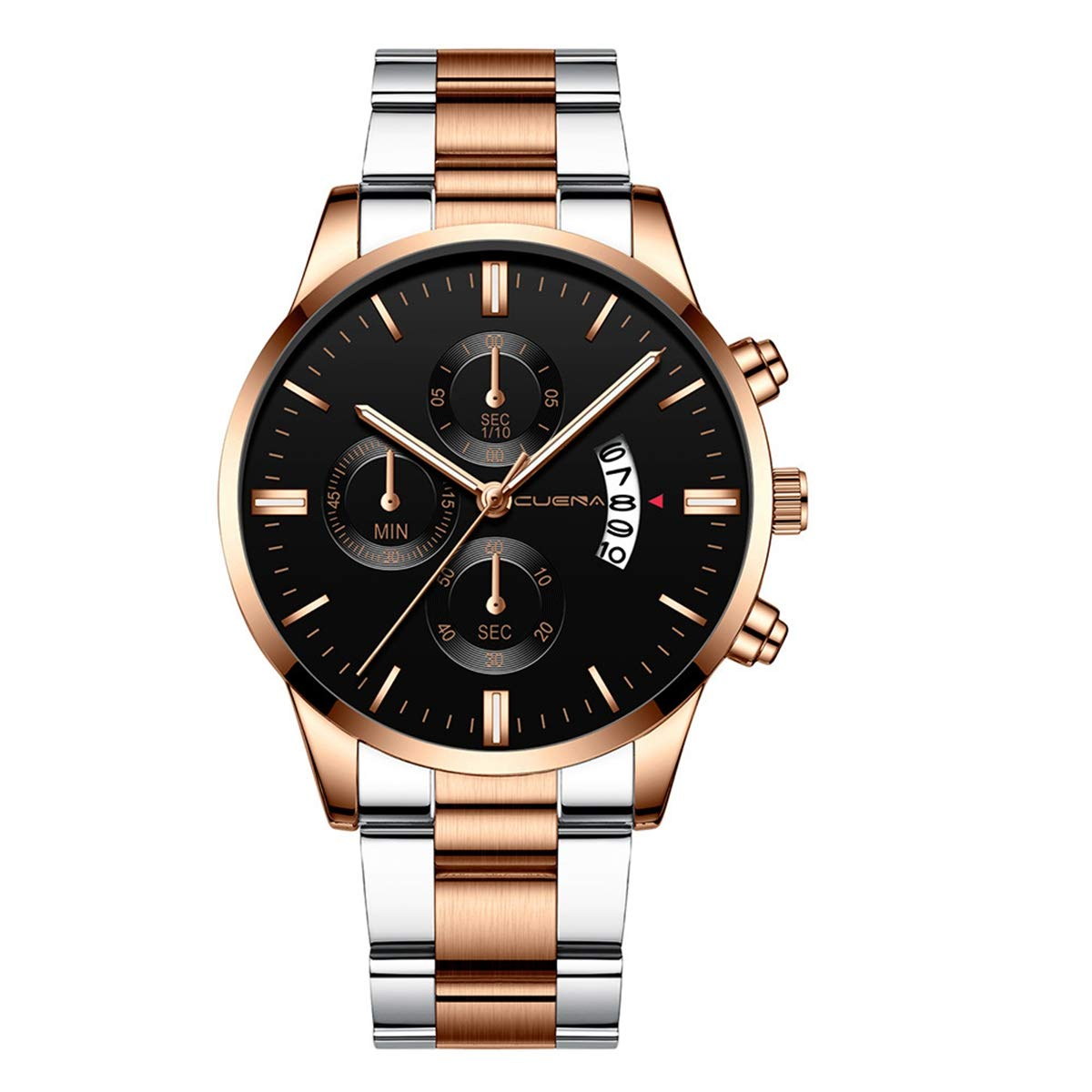 ZODRQ Men's Watch,Fashion Waterproof Sport Watches Stainless Steel Wrist Watch Wristwatch Date Quartz Watch for Men Gift (F) by ZODRQ