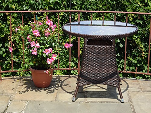 Patio Resin Outdoor Wicker Round 31.5 Inches Dining Table w/ Glass Top. Dark (Woven Top Dining Table)