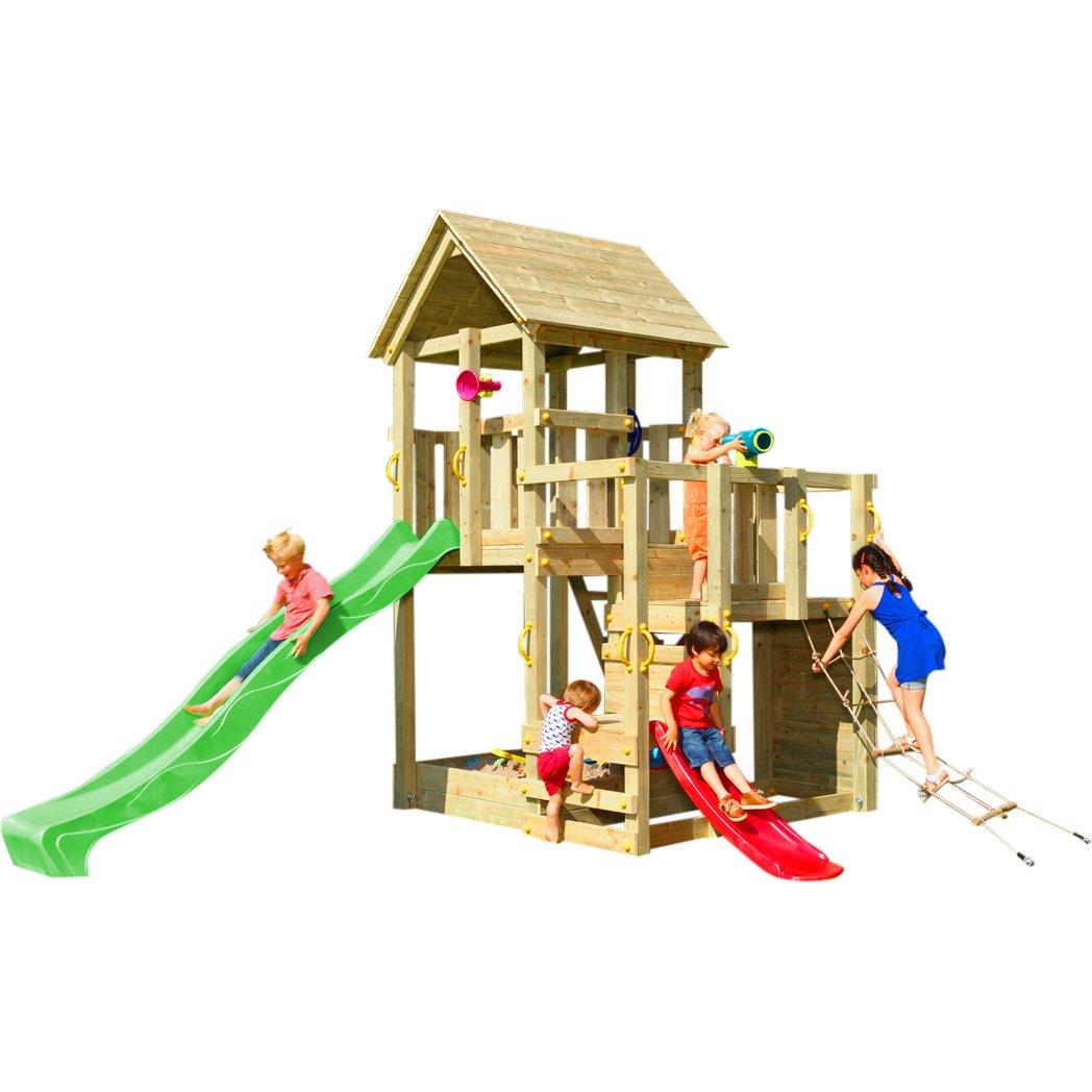 Spielturm PENTHOUSE mit Rutsche 2,90 m + Babyrutsche + Kletternetz Farbe Grün