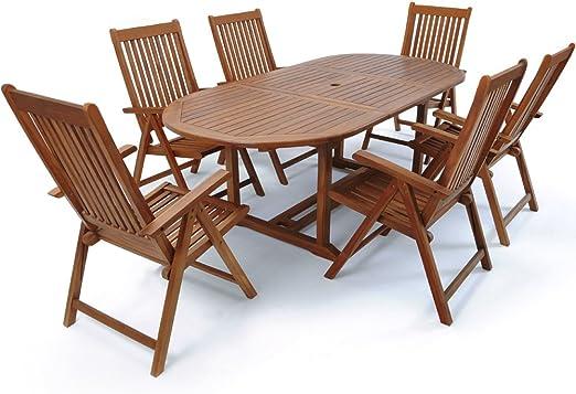 Deuba   Ensemble de Jardin 6+1 • en Bois d\'eucalyptus certifié FSC® •  VANAMO • 1 Table et 6 chaises Pliables   Salon de Jardin, mobilier