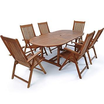 Deuba | Ensemble de Jardin 6+1 • en Bois d\'eucalyptus certifié FSC® •  VANAMO • 1 Table et 6 chaises Pliables | Salon de Jardin, mobilier