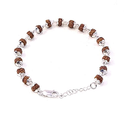 09f43f0da2b Sahiba Gems Rudraksha with 925 Sterling Silver Flower Caps Adjustable  Bracelet for Unisex: Amazon.in: Jewellery