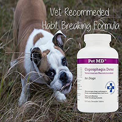 Pet MD - Stop Dog Eating Poop Natural Coprophagia Treatment - Feces Eating Deterrent for Dogs - Eliminates Bad Dog Breath - 120 Count