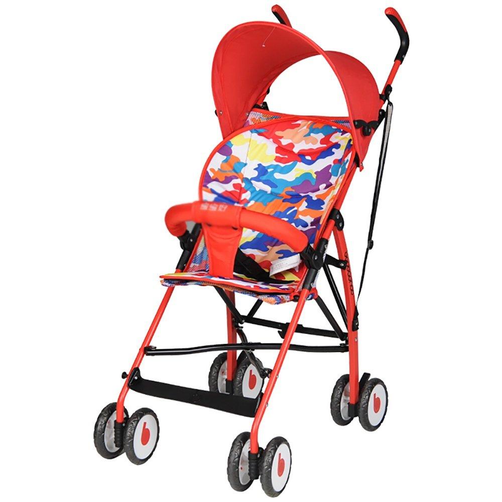 赤ちゃんのベビーカーは、赤ちゃんのベビーカー軽量ファッションシンプルな四輪子どもの傘赤い青46 * 66 * 100センチメートルのレインカバー旅行旅行のバージョンで折り畳むことができます (色 : D)  D B07H899YC2