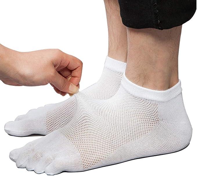 Da Uomo Cotone Toe Socks 6 PAIA Traspiranti Comode Sport Running Five Finger