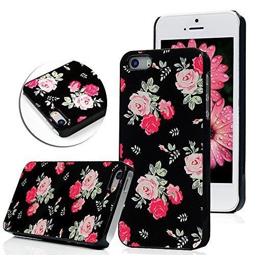 YOKIRIN Etui Housse Aluminium PC Cover Case pour iPhone 5 5S 5G shell coloré Fleur Peint Protector coque (Noir)