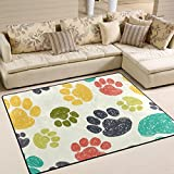 ALAZA Cute Paw Print Kids Area Rug,Pet Pawprint Non-Slip Floor Mat Soft Resting Area Doormats for Living Dining Bedroom 5' x 7'