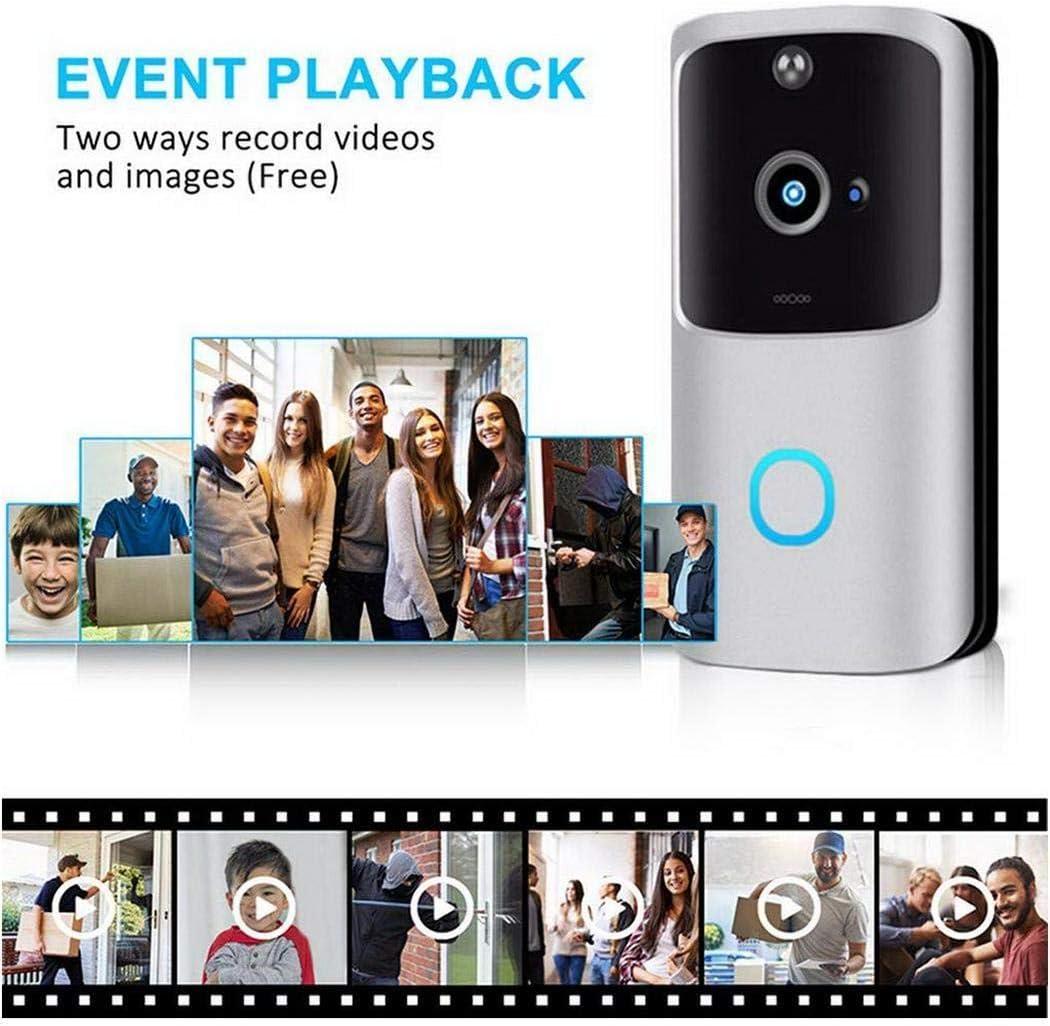 Kloius Timbres de Video WiFi inal/ámbricos electr/ónicos Inteligentes e Inteligentes Timbres para Puerta