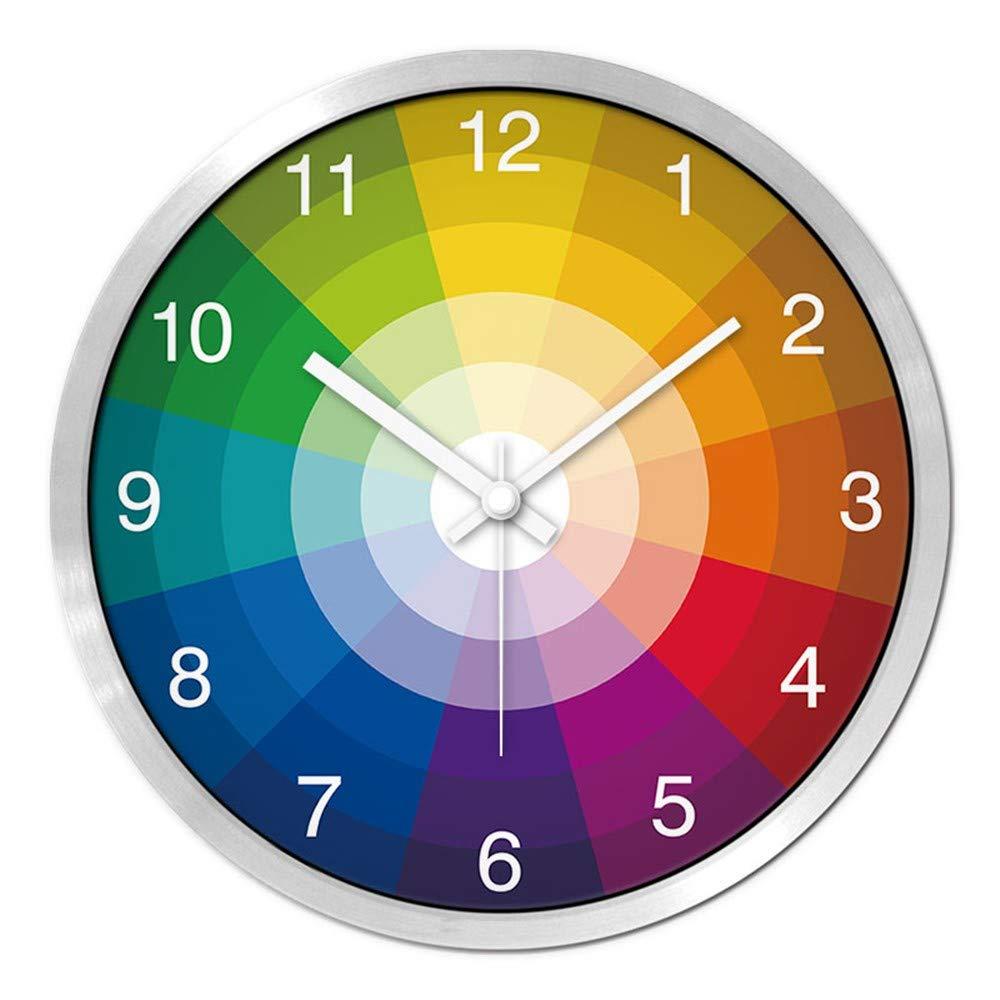 XPY-wall clock Wanduhr funkwanduhr bahnhofsuhr Kreative Chromatographie Uhr Moderne Persönlichkeit Home Wohnzimmer Schlafzimmer Kunst stumm Tabelle 14 Zoll weiße Nadel Silberrahmen