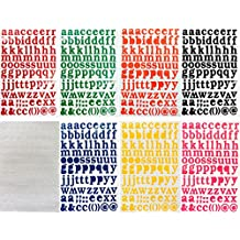 Jazzstick Small Lower-Case Alphabet Letters Decorative Sticker Self Adhesive Label Value Pack Bulk 8 sheets Assorted Colors Red/Green/Orange/Black/White/Navy/Yellow/Pink 14D