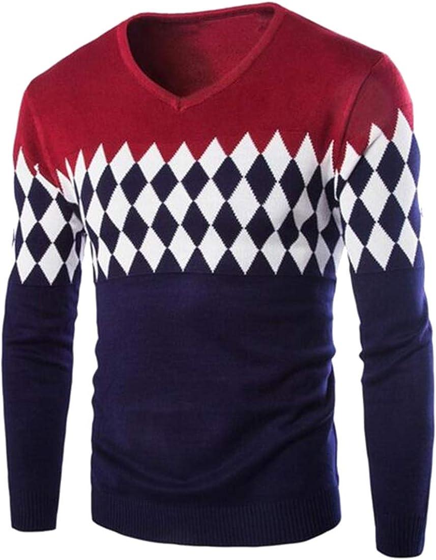 Bravepe Mens Long Sleeve Color Block Regular Fit Knitting V Neck Pullover Sweaters