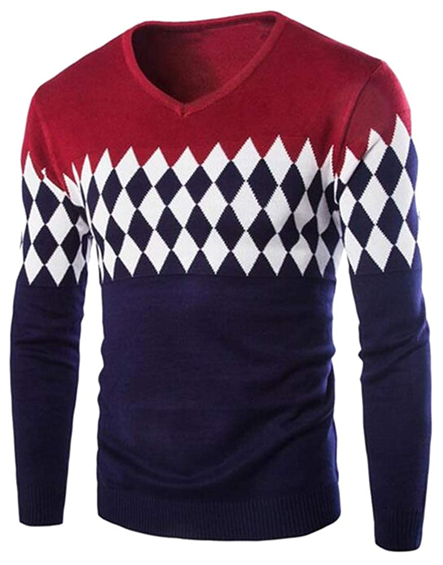OTW Mens V Neck Slim Fit Long Sleeve Color Blocked Knitted Pullover Sweater